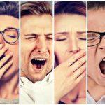 Tired people yawning